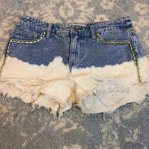 Free People Pants - FREE PEOPLE Denim White Bleached Jean Shorts