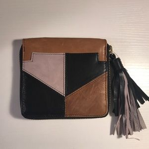 Free People square leather wallet