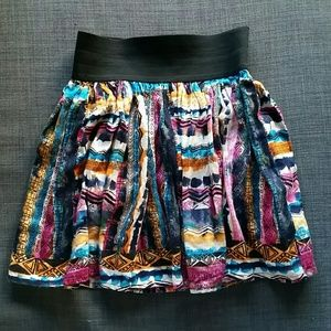 Forever 21 Tribal Watercolor Skirt Size XS