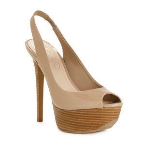 Jessica Simpson Halie Nude Patent Slingback Heel
