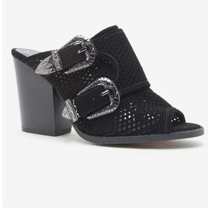 Shoes - Black suede mules with western buckles