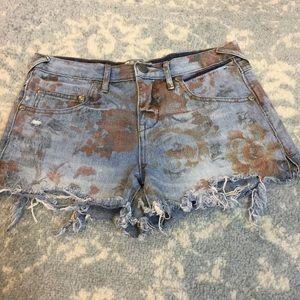 Free People Pants - FREE PEOPLE Denim Rose Printed Jean Shorts