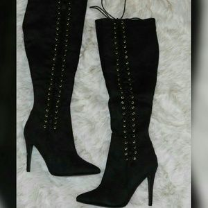 Liliana Shoes - BLACK LACE UP KNEE BOOTS