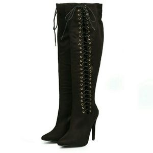 Shoes - BLACK LACE UP KNEE BOOTS