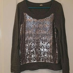 JCrew sweater with silver sequins in size small.