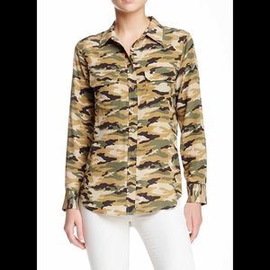 Equipment Tops - Equipment Camouflage Silk Blouse