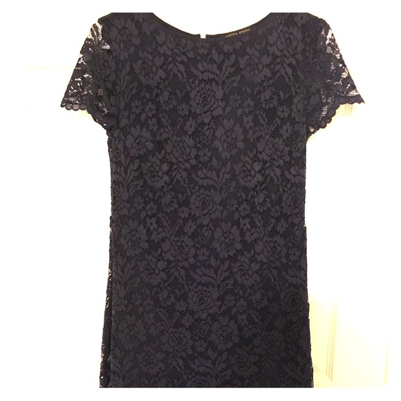 Cynthia Steffe Dresses & Skirts - Cynthia Steffe Navy Shift Dress with Lace Overaly