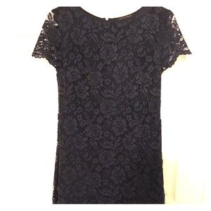 Cynthia Steffe Navy Shift Dress with Lace Overaly