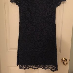 Cynthia Steffe Dresses - Cynthia Steffe Navy Shift Dress with Lace Overaly