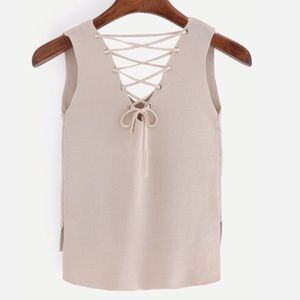 Haute Ellie Tops - 🆕 Oyster Shell Hi-Lo Knitted Lace Up Tank Top
