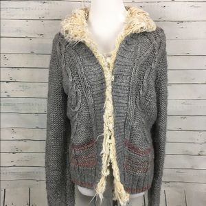 Free People Sweaters - Free people fur trimmed cable knit sweater gray