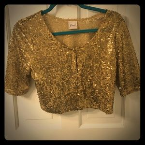 Guidi Tops - Guidi Gold Sequin Cropped Cardigan