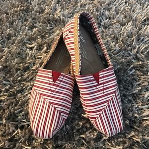 TOMS Shoes - TOMS Shoes Red White Striped Sneakers New Size 5