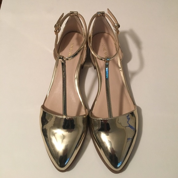 eb168a1de106 NINE WEST Metallic Gold T-Strap Pointed Toe Flats