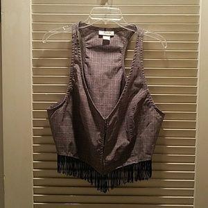 Belle Du Jour Jackets & Blazers - Belle Du Jour plaid fringe cropped vest 1x