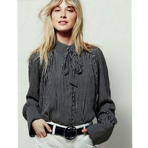 Free People Tops - FREE PEOPLE Striped Modern Muse Blouse
