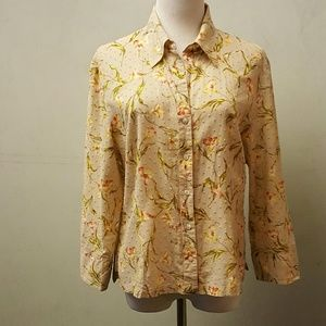 Talbots Tops - Talbots tan floral blouse