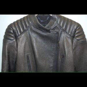 Belstaff Jackets & Blazers - BELSTAFF Sidney Dk Gray Leather Motorcycle Jacket