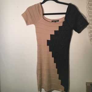 Bobbles and lace dress sparkly black and nude