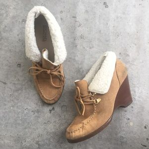 MICHAEL Michael Kors Suede Shearling Wedge Booties