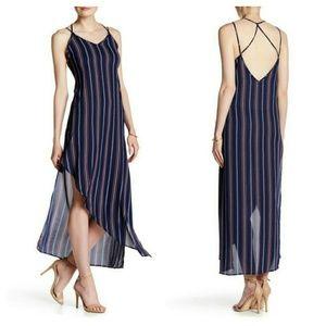 Soprano Dresses & Skirts - Navy Striped Asymmetrical  Midi & Maxi Slip Dress