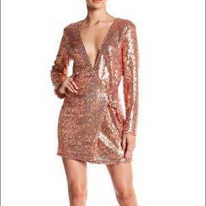 Missguided Dresses & Skirts - Rose Gold Sequin Blazer Wrap Dress