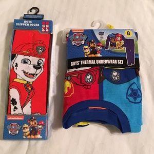 Nickelodeon Other - NWT Paw Patrol Thermal Underwear 8 & Slipper Socks