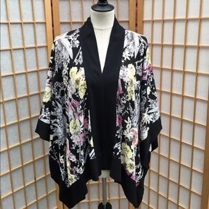 Hazel Other - Hazel Black Trimmed Floral Short Kimono Cardigan