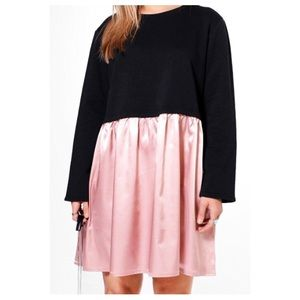 Boohoo Plus Dresses & Skirts - Nwt 20 plus size pink satin sweatshirt top dress