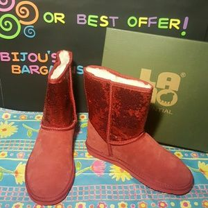 Lamo Shoes - *New* Lamo Red Suede Sequined Booties Sz 9