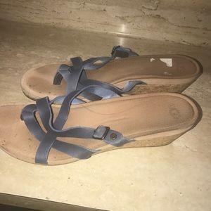 UGG Shoes - Blue leather UGG wedge sandals