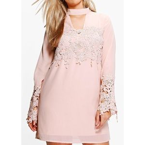 Boohoo Plus Dresses & Skirts - NEW 18 plus size pink embroidered shift dress
