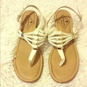 St. John's Bay Shoes - Gold and white sandals
