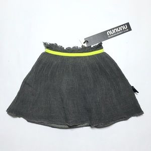 nununu Other - Nununu Gray Gauze Neon Yellow Band Skirt