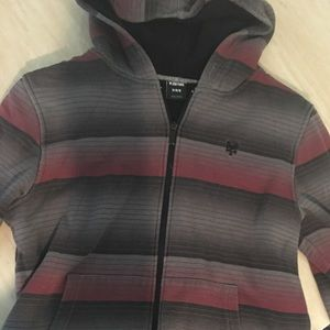 Cozy soft zip-up striped hoodie