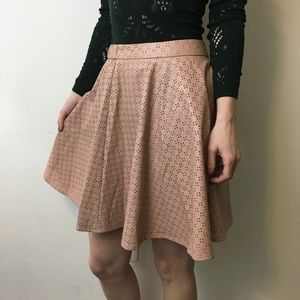 Sunday in Brooklyn Pink Eyelet Faux Leather Skirt