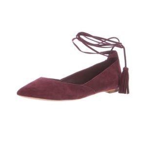 Loeffler Randall Shoes - Loeffler Randall Suede Lace Up Flats Maroon