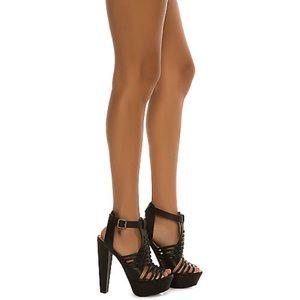 Boutique Shoes - High Heel Platform Sandal with Strap