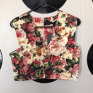 Zara floral crop top / vest - size medium