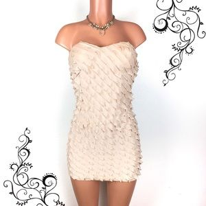 Mystic Dresses & Skirts - Nude beige ruffled strapless mini dress