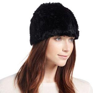 Adrienne Landau Accessories - adrienne landau knit black rabbit fur beanie