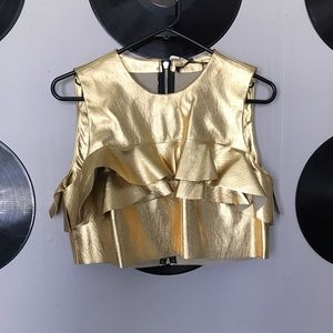 Zara gold faux leather crop top with ruffle - med