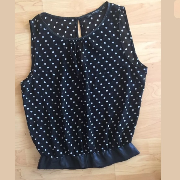 223813fe03 Zara trafaluc semi sheer black white polka dot top.  M 58d2025436d594ad18016d87