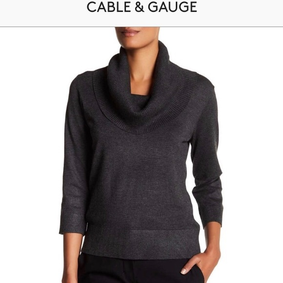 Cable Gauge Sweaters Cable Gauge Cowl 34 Sleeve Sweater Heather