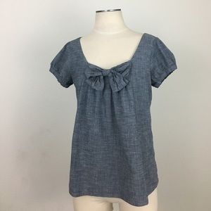 Anthropologie fei- Stretch Chambray Bow Top SZ M