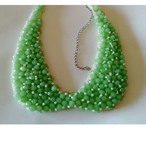 Jewelry - New! Retro Green Bib Statement Beaded Necklace