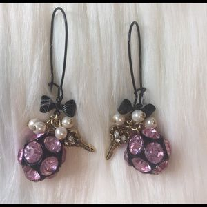 Vintage Betsey Johnson Heart Key & Bow Earrings