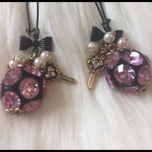 Betsey Johnson Jewelry - Vintage Betsey Johnson Heart Key & Bow Earrings
