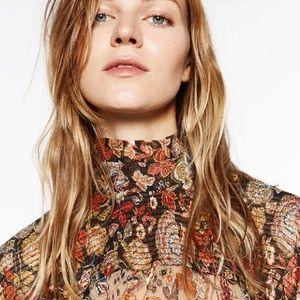 Zara printed high collar blouse