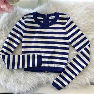 Blue and white striped cropped sweater